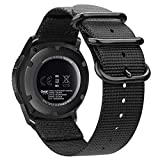 Fintie Armband für Galaxy Watch 46mm / Gear S3 Frontier/Gear S3 Classic - Premium Nylon Uhrenarmband Sport Armband verstellbares Ersatzband mit Edelstahlschnallen, Shcwarz