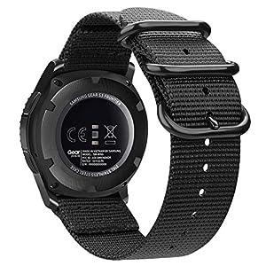 Fintie Armband kompatibel für Samsung Galaxy Watch 46mm / Gear S3 Classic/Gear S3 Frontier/Huawei Watch GT – Nylon Uhrenarmband verstellbares Ersatzband mit Edelstahlschnallen,