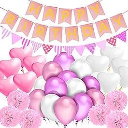 """Sundell Decorazione Festa di Compleanno, """"Happy Birthday""""Bandiera Striscione, 9 Pompons di Fiori di Carta, Triangolare Bandierine, 20 Amore Palloncino, 40 Lattice Palloncino (Rosa)"""