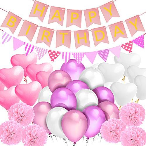 Sundell-Decorazione-Festa-di-Compleanno-Happy-BirthdayBandiera-Striscione-9-Pompons-di-Fiori-di-Carta-Triangolare-Bandierine-20-Amore-Palloncino-40-Lattice-Palloncino-Rosa