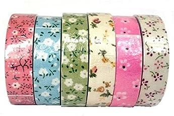 Assorted Flower Fabric Tape Set 6
