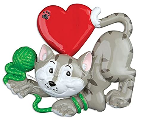 PERSONALIZED CHRISTMAS ORNAMENTS PETS-CAT LOVER-Grey