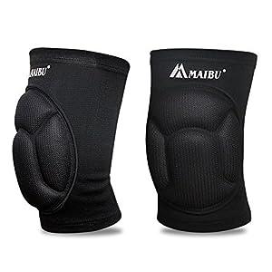Maibu, ginocchiere in spessa spugna anti-collisione e antiscivolo, per pattinaggio, danza, pallavolo, 1 paio, donna, Nero