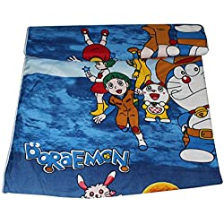 Frabjous Doraemon Cartoon Prints Polycotton Single Bed Reversible AC Dohar/Blnaket/Quilt For Kids (Blue) Diwali Gift for Home