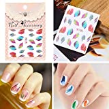 Swiftswan Feather Nail Art Water Transfer Decal Sticker Rainbow Dreams Bright Color Hot