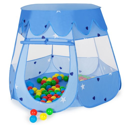 TecTake Kinderspielzelt Pop Up Spielhaus Kinderzelt mit Bällebad 100 Bälle + Tasche (Blau)