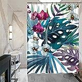 Feidaeu Dusche Vorhang Weiß Blumen Blätter gedruckt wasserdicht Home Dekorative Mode Bath Vorhänge Größe 180x180 cm