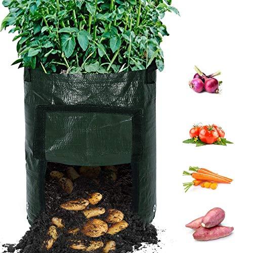 Recipientes para plantas y accesorio 4-Pack - Bolsas duraderas for cultivo de papa, 10 galones, macetas de aireación con solapa y asas de acceso portátil, sembradora de tierra for patata, zanahoria, c