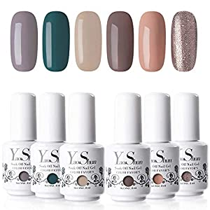 Yao Shun Gel Nail Polish 8ML UV LED Soak Off Gel Polish Varnish Manicure 6 Elegant Colours Set
