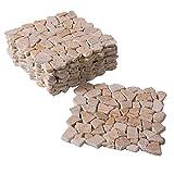 BodenMax Travertine mediterran Naturstein Mosaik auf Netz geklebt Frostsicher für Innen- und Außenwand oder Boden cremefarben beige