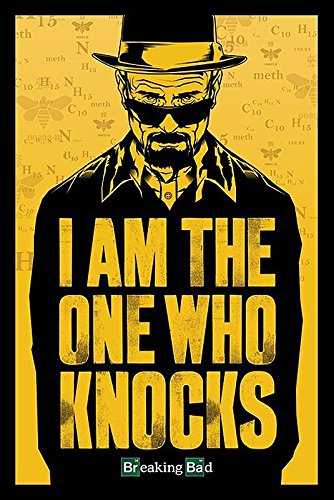 "Close Up - Póster (61 x 91,5 cm, con póster sorpresa), diseño de Breaking Bad con texto ""I am the one who knocks"""