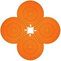 zanmini Salvamanteles Silicona, Protector de Olla y Sartén, Mantel Multiusos, Protector para Mesa, Juego de 4, Resistente a la Tempreratura Alta, Escurreplatos,Naranja