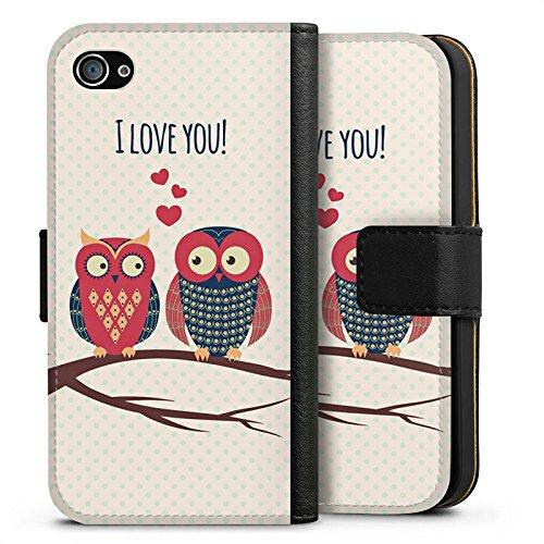 Apple iPhone X Silikon Hülle Case Schutzhülle Herz Eule Love Sideflip Tasche schwarz