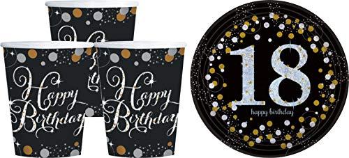AV Andrea Verlag Geburtstagsdeko Zum 18. Geburtstag | 16 Teile All in One Set Becher Teller Gold Schwarz Silber Party Deko Happy Birthday Dekoration Av-teile