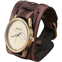 Tongshi Nuevo estilo retro punk rock grandes de Brown ancho de cuero pulsera reloj pulsera de hombres fresco (marrón)