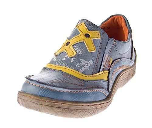 9dbdc2b8c3f1f5 Leder Comfort Damen Schuhe TMA EYES 1417 Slipper Turnschuhe Sneakers  Halbschuhe Schwarz Grün Blau Blau