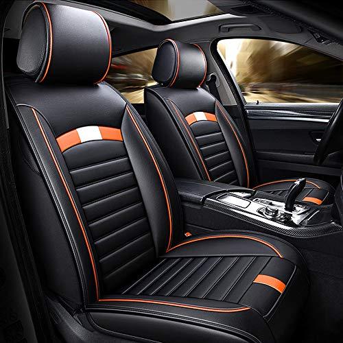 LXDER Luxuriöser Universal Autositzbezug, 5Er-Set, Sitzkissen Aus Schwamm, Komfortabel Und Atmungsaktiv, Für Die Meisten Autos Geeignet, Mit Airbags Kompatibel,Orange