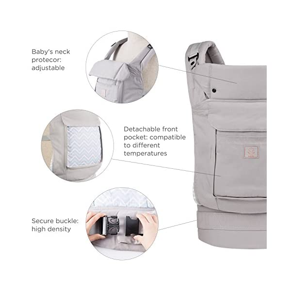"""GAGAKU Ergonomic Baby Carrier Soft Cotton Front and Back - Child Carrier with Detachable Hood for All Seasons (5-48 Months) GAGAKU Ergonomic 34 cm (13.5 inches ) wide seat provides proper support of baby's legs, hips and spine, and support your baby in natural """" M """" Position baby to toddler; Adjustable neck support secure and proper placement of baby's head and neck; Extra-padded shoulder strap and wide waist belt ensure stability and pressure reduction; 3"""