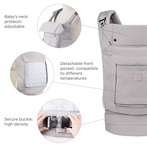 GAGAKU Ergonomische Baumwoll Babytrage Rücken mit Abnehmbarer Kapuze – 3 Tragepositionen (5,5-15 kg, 4-48 monate)