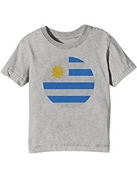 13fc42aa2 Erido Uruguay Nacional Bandera Niños Unisexo Niño Niña Camiseta Cuello  Redondo Gris Manga Corta Todos Los