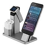 Stand per Apple Watch, Aluminum 4 in 1 per Apple iWatch supporto di ricarica iPhone Airpods stazione dock per Apple Watch 3/2/1/x Airpods/iPhone/8/8Plus/7Plus/6s/6sPlus/iPad, Grigio