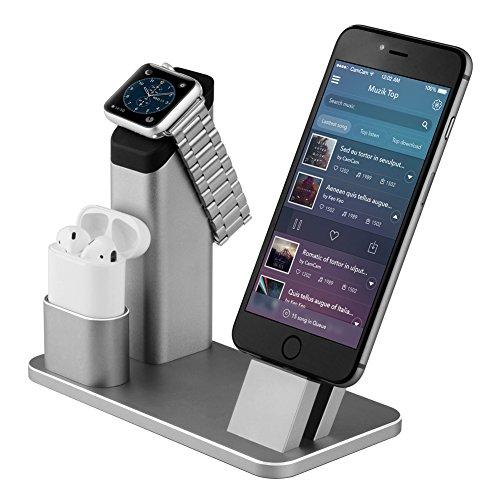 Bicolor Apple Watch Stand, Aluminium 4 in 1 Apple iWatch Ladestation iPhone Docks Holder Station für Apple Watch AirPods/iPhone mit verschiedenen Etuis
