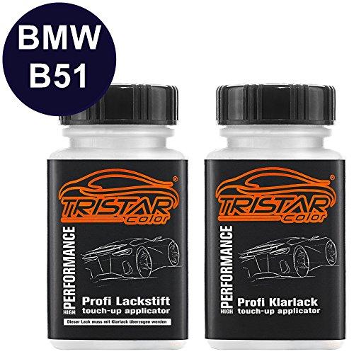 Preisvergleich Produktbild Autolack Lackstift Set BMW B51 San Marino Blau Metallic / San Marino Blue Metallic Basislack Klarlack je 50ml