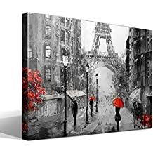 Canvas lienzo bastidor Artwork Paris - Ancho: 75cm - Alto: 55 cm - Bastidor: 3cm - Imagen alta resolución - Impresión sobre Lienzo de Algodón 100% - Bastidor de madera 3x3cm - reproduccion digital - Cuadro de calidad superior - Fabricado en España
