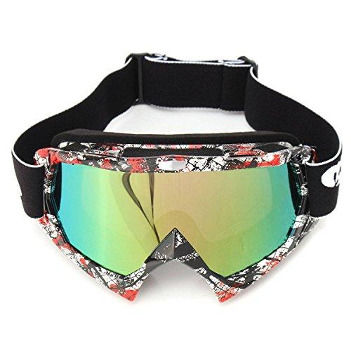 AUDEW Motorrad Goggle Motocross Dirtbike Crossbrille Sportbrille Wind Staubschutz Fliegerbrille Snowboardbrille Schneebrille Skibrillen Wintersport Brille Off-Road Schutzbrille P932farbig