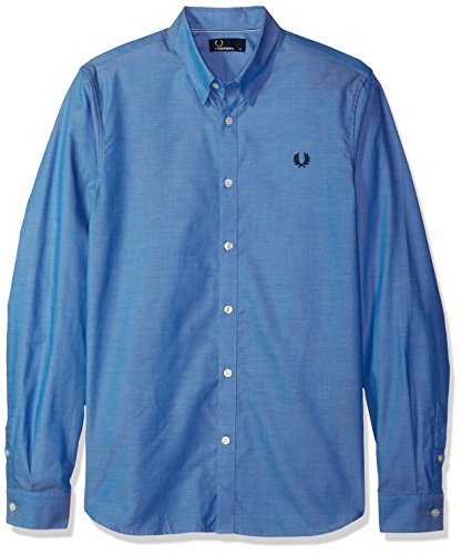 Fred Perry Herren Band-Trim-Shirt Aus Baumwolle L Mittelblau (Button-down-shirt Gestreifte Blau)