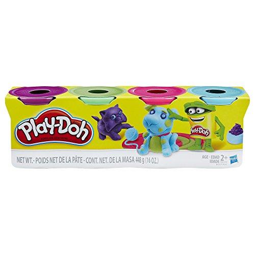 Hasbro Play-Doh b6510el2-Lot de 4, Bleu Clair/Vert Clair/Rose/Violet, pâte