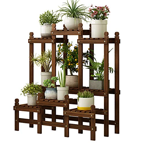 Pflanzenständer aus Holz, 2-Tier-Blumenregal 6 Töpfe aus Holz Pflanze Steht Garten Inhaber Display Regal multifunktionale Lagerregal Bücherregal -