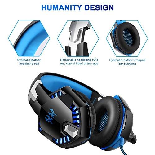 Gaming Kopfhörer für PS 4 PC Computer Professioneller 3,5mm Gaming Headset Stereo Sound Mikrofon mit Rauschunterdrückung und Lautstärkeregler Egonomisches Design, geringes Gewicht (Blau) - 7