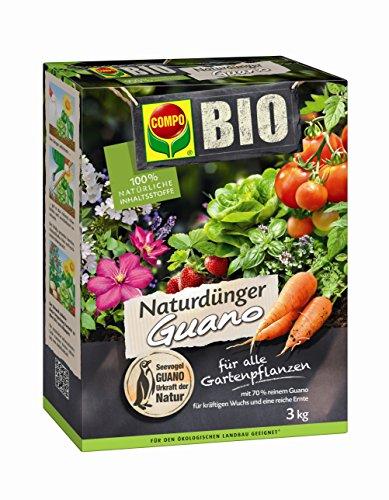 COMPO BIO NaturDünger Guano, mit natürlichen Nährstoffen aus Meeresablagerungen und Naturkalk, Gartendünger der sich für den ökologischen Landbau eignet, 3 kg