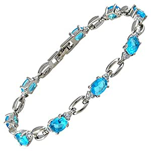 Rizilia Jewellery Oval Shaped Aquamarine Color Birthstone Gemstone Fine 18K White gold Plated [175mm/6.9inch] Tennis Bracelet Simple Modern Elegance [Free Jewelry Pouch]