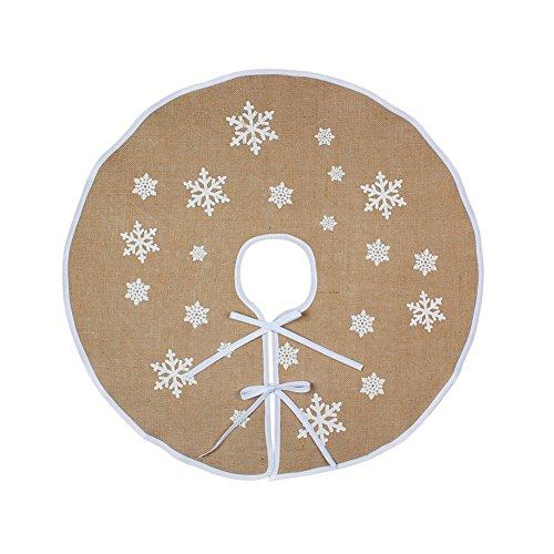 OurWarm yute base de árbol de Navidad 76cm de diámetro de Navidad año nuevo vacaciones decoración/blanco copos de nieve