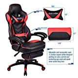 PULUOMIS Gaming Chair Red, Racing Chair for Adults, Game Chair with Footrest Ergonomic