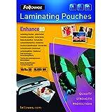 Fellowes   5440602 Enhance -  Pack de 25 Pochettes de plastification brillantes 80 microns 10x15 cm  - Transparent