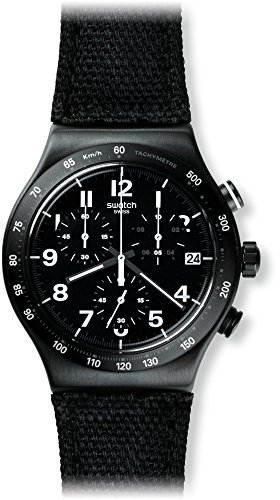 Swatch Herren-Armbanduhr Chronograph Quarz Leder YVB402