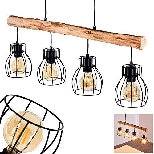 Pendelleuchte Gondo, Hängelampe aus Metall/Holz in Schwarz/Braun, 4-flammig, 4 x E27 max. 40 Watt, moderne Hängeleuchte geeignet für LED Leuchtmittel