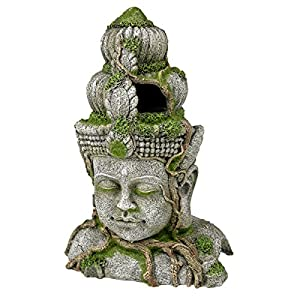 Blue Ribbon Ancient Buddha Statue with Moss Exotic Environments Aquarium Ornament