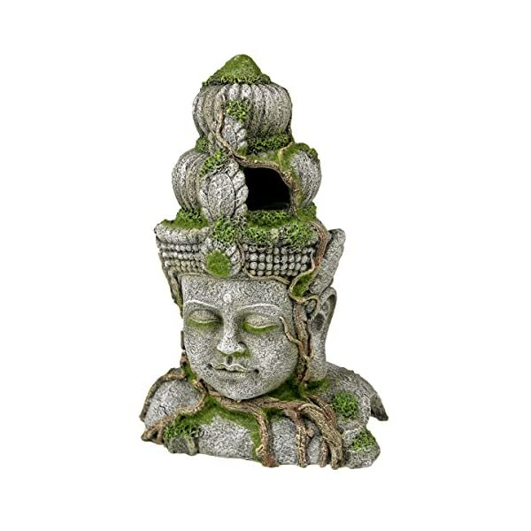 Blue Ribbon Ancient Buddha Statue with Moss Exotic Environments Aquarium Ornament