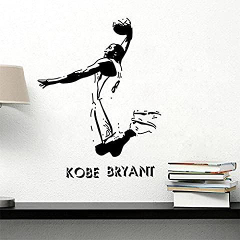 H&D Just play have fun enjoy the game cute Removable PVC all Vinyl Decal motivational sport basketball inspired Quote Art Saying Lettering stencil Sticker wall decoration Sticker Home Decor Living bedroom Sticker Wall Paper Decals For Kid's Room (kobe bryant)