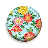 Ye Hua Watercolor Hand Paint Dog Rose Flowers Art Vintage Tire Cover Polyester Universal Spare Wheel Tire Cover Wheel Covers for Trailer RV SUV Truck Camper Travel Trailer Accessories 16inch
