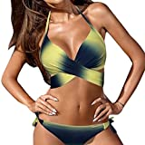 OVERDOSE Frauen Bademode Bikini Set Bandage Push-Up Gepolsterter Damen Badeanzug Bade Beachwear(A-Yellow,L)