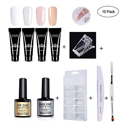 Polygel kit de vernis à ongles, gel extension Vernis à ongles nail kit – 4 * Poly Gel, brosse à ongles à double tête, Soak Off (UV), modèle Tips, clip, fleurs séchées, Lime à ongles