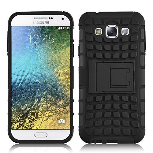 JAMMYLIZARD Outdoor Hülle für Samsung Galaxy E7 | Schutzhülle [Alligator] Doppelschutz Handyhülle Hardcase aus Polycarbonat und Silikon Backcover Lifeproof Case Cover, Schwarz
