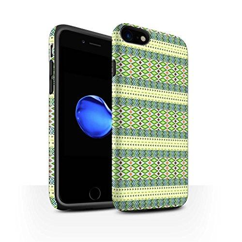 STUFF4 Matte Harten Stoßfest Hülle / Case für Apple iPhone 8 / Grün/Rot Muster / Aztekische Stammes Muster Kollektion Grün