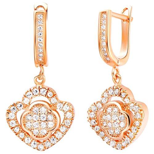 AnaZoz Joyería de Moda Simple Personalidad Pendientes de Clip on Para Mujer Chapado en Oro Rosa Flor Corazón Blanco Zirconia Cristal Pendientes Para