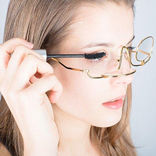 Make Up Schminkbrille Deluxe | 3-fache Vergrößerung | Metall | Gold | klappbare Gläser | inkl. Etui
